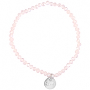 Top facet armbandjes Sisa 4x3mm (RVS bedel) Pink champagne-pearl diamond coating