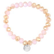 Top facet armbandjes Sisa 8x6mm (RVS bedel) Rose alabaster-half champagne gold diamond coating