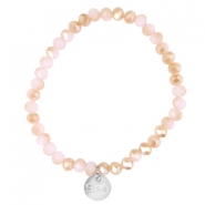 Top facet armbandjes Sisa 6x4mm (RVS bedel) Rose alabaster-half champagne gold diamond coating