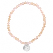 Top facet armbandjes Sisa 4x3mm (RVS bedel) Rose alabaster-half champagne gold diamond coating