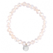 Top facet armbandjes Sisa 8x6mm (RVS bedel) Light pink champagne opal-pearl diamond coating