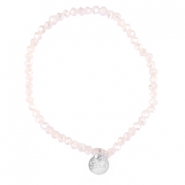 Top facet armbandjes Sisa 4x3mm (RVS bedel) Light pink champagne opal-pearl diamond coating