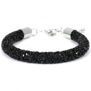 Crystal diamond armbanden 8mm Jet black