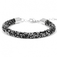 Crystal diamond armbanden 7mm Jet black-labrador silver