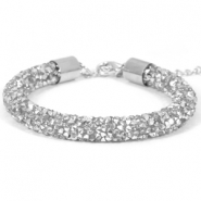 Crystal diamond armbanden 8mm Crystal-labrador silver