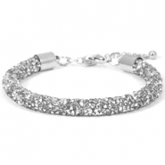 Crystal diamond armbanden 7mm Crystal-labrador silver