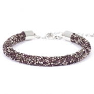 Crystal diamond armbanden 7mm Amethyst-anthracite