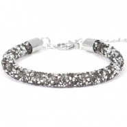 Crystal diamond armbanden 7mm Violet grey-silver