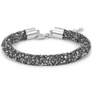 Crystal diamond armbanden 8mm Black diamond-anthracite
