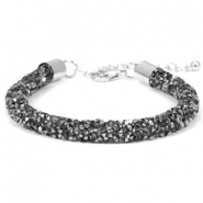 Crystal diamond armbanden 7mm Black diamond-anthracite