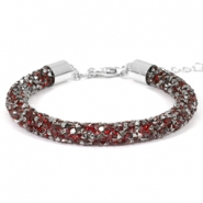 Crystal diamond armbanden 7mm Siam red-anthracite