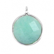 Half edelsteen hangers rond 16mm Turquoise jade stone-silver