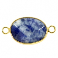 Half edelsteen hangers/tussenstukken ovaal 18x14mm Blue point stone-gold