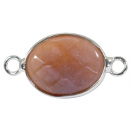 Half edelsteen hangers/tussenstukken ovaal 18x14mm Light brown yellow egg stone-silver