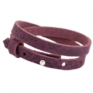 Cuoio armbanden leer Reptile 8 mm dubbel voor 12 mm cabochon Light aubergine red