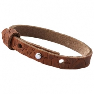 Cuoio armbanden leer Reptile 8 mm voor 12 mm cabochon Chestnut Brown
