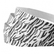 Crystal glitter tape animal print 10mm Silver-black