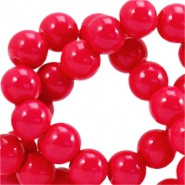 8 mm glaskralen opaque Raspberry pink