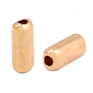 Kralen DQ metaal tube 12x5mm mixed sizes Rosé goud (nikkelvrij)