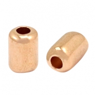 Kralen DQ metaal tube 10x7mm mixed sizes Rosé goud (nikkelvrij)