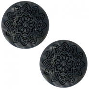 12 mm platte cabochon Polaris Elements Mandala print matt Black anthracite