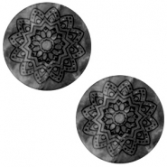 12 mm platte cabochon Polaris Elements Mandala print matt Black silver