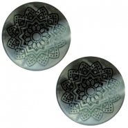 20 mm platte cabochon Polaris Elements Mandala print matt Black turquoise
