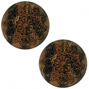 20 mm platte cabochon Polaris Elements Mandala print matt Black smoke topaz