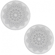 12 mm platte cabochon Polaris Elements Mandala print matt White grey