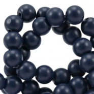 4 mm glaskralen half mat Dark navy blue