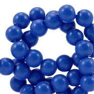 4 mm glaskralen half mat Cobalt blue