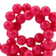 8 mm glaskralen half mat Raspberry pink