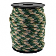 Trendy koord Paracord 4mm Emerald green-beige zwart
