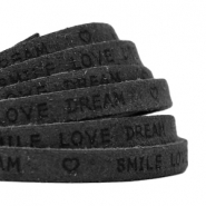 "Plat 5 mm DQ leer met ""smile love dream"" print Vintage black"