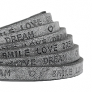"Plat 5 mm DQ leer met ""smile love dream"" print Antracita zwart"