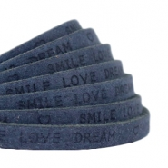 "Plat 5 mm DQ leer met ""smile love dream"" print Dark denim blue"