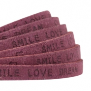 "Plat 5 mm DQ leer met ""smile love dream"" print Light aubergine red"