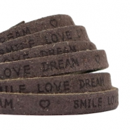 "Plat 5 mm DQ leer met ""smile love dream"" print Dark vintage brown"