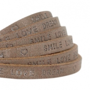 "Plat 5 mm DQ leer met ""smile love dream"" print Chocolate brown"