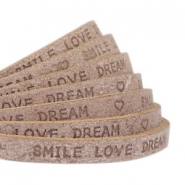 "Plat 5 mm DQ leer met ""smile love dream"" print Smoke cognac brown"