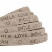 "Plat 5 mm DQ leer met ""smile love dream"" print Vintage brown"
