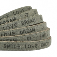 "Plat 5 mm DQ leer met ""smile love dream"" print Dark olive green"