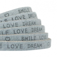 "Plat 5 mm DQ leer met ""smile love dream"" print Grey"