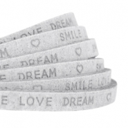 "Plat 5 mm DQ leer met ""smile love dream"" print Light grey"