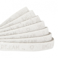 "Plat 5 mm DQ leer met ""smile love dream"" print Off white"