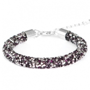 Crystal diamond armbanden 8mm Dark amethyst-anthracite
