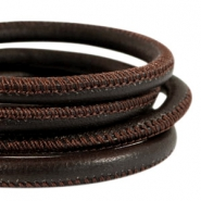 DQ nappa leer gestikt 6x4mm Coffee brown
