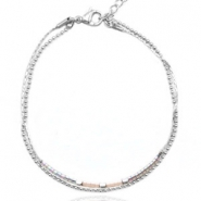 Stainless steel armbanden met Miyuki kraaltjes en ball chain Light greige-silver rainbow (RVS)