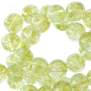 6 mm glaskralen transparant gemêleerd Pear green