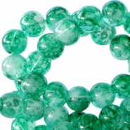8 mm glaskralen transparant gemêleerd Emerald green